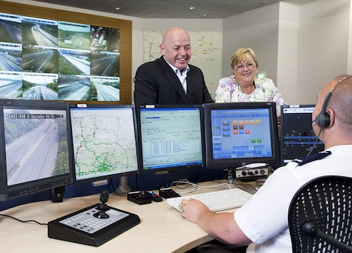 HA0540. May 2010. New HotKey being launched on the ICCS in RCC Control Rooms, to provide direct telephone link to the RHAís rescue recovery group control room. Nikki King, Chair of Road Haulage Association Rescue and Steve Ferridge her deputy were at the ERCC to mark the event.